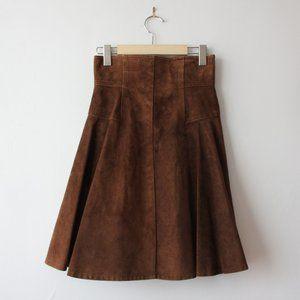 Vintage Mathilde J. Rondinaud Brown Suede Skirt